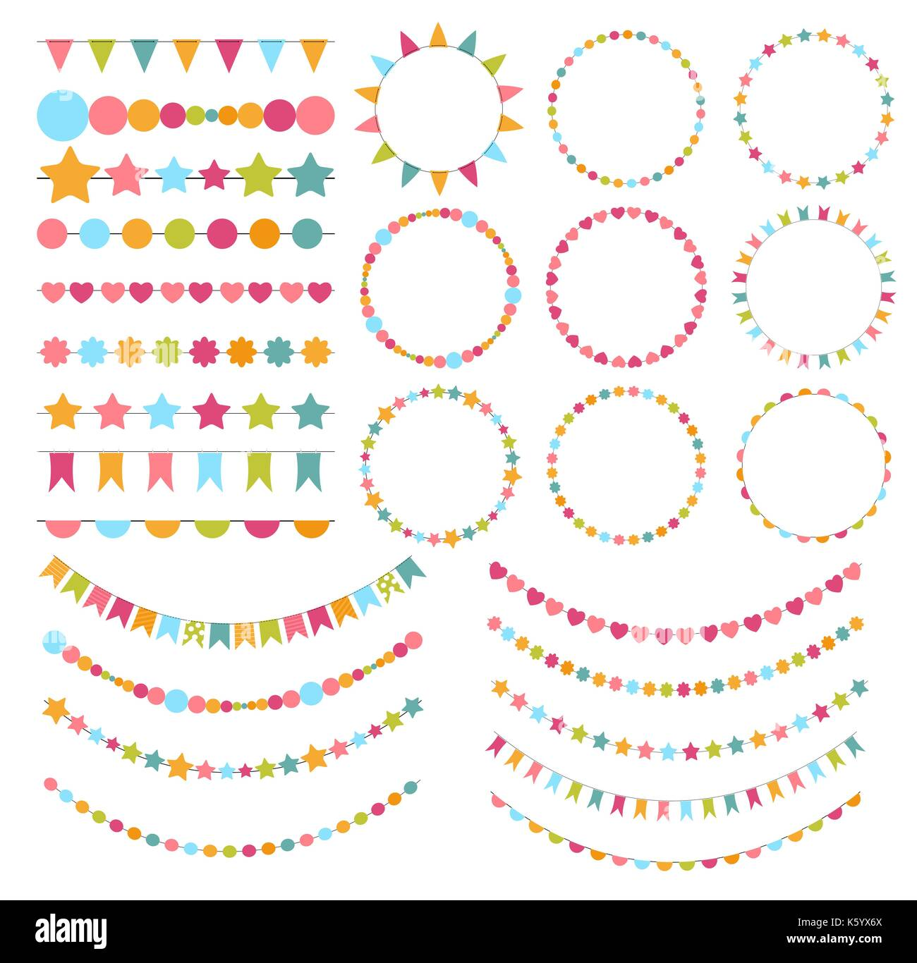 party flags buntings brushes for creating a party invitation stock