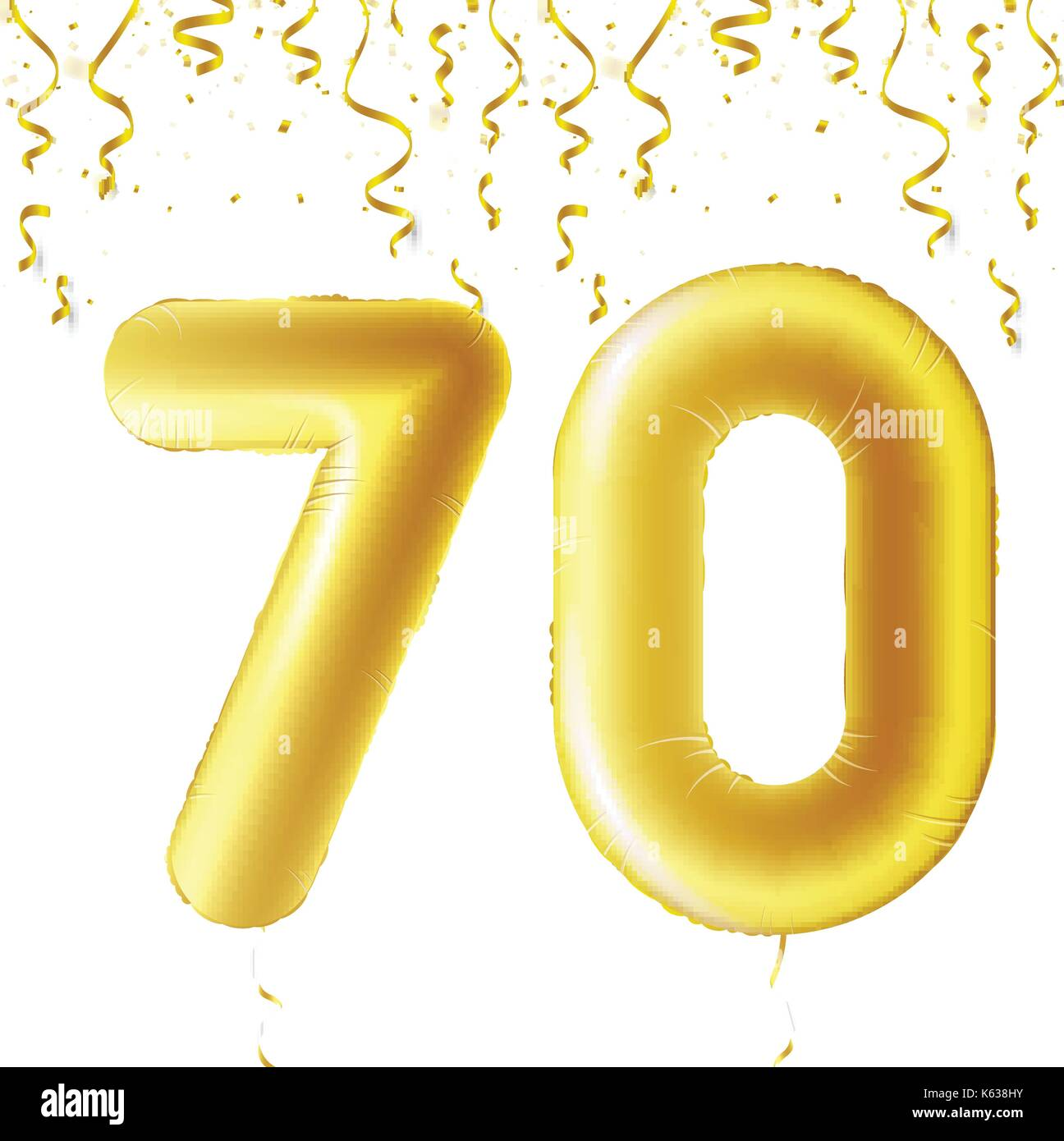 70th birthday balloon stock photos 70th birthday balloon stock inflatable golden balls with falling confetti and hanging ribbons seventy years symbol 70 biocorpaavc