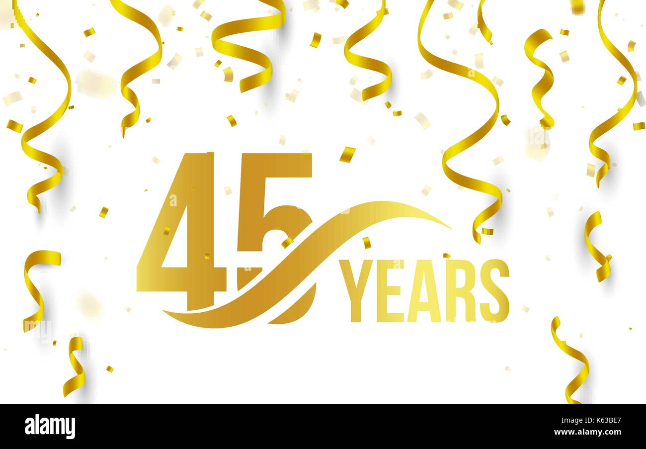 isolated golden color number 45 with word years icon on white