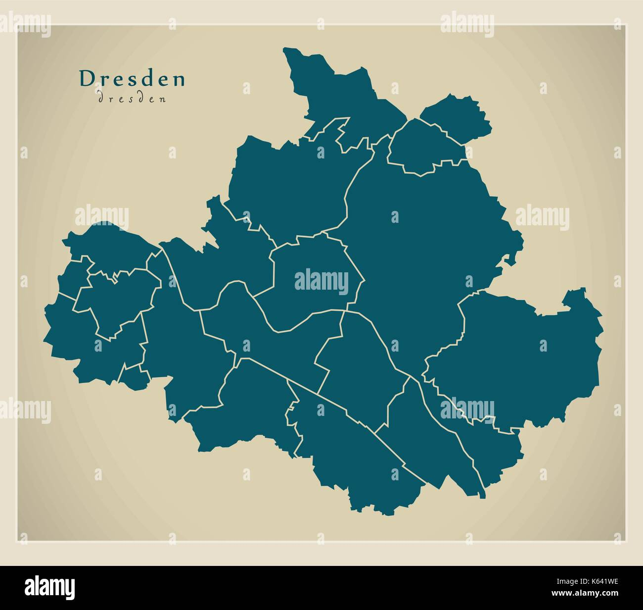 Modern City Map Dresden city of Germany with boroughs DE Stock