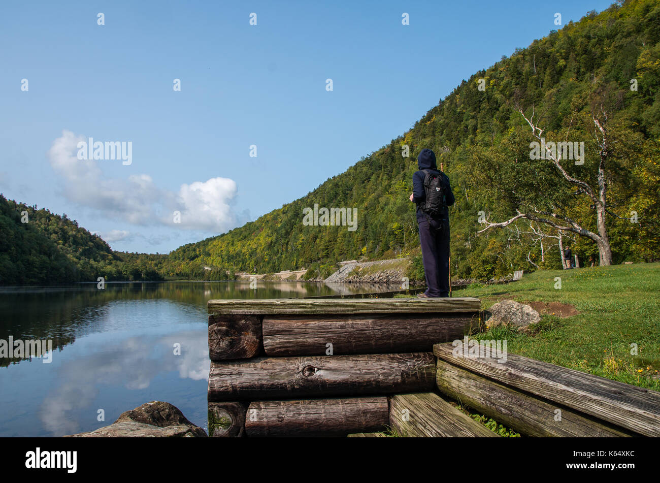 New york essex county keene - Hiker Looking Across The Lower Cascade Lake In Keene New York Stock Image