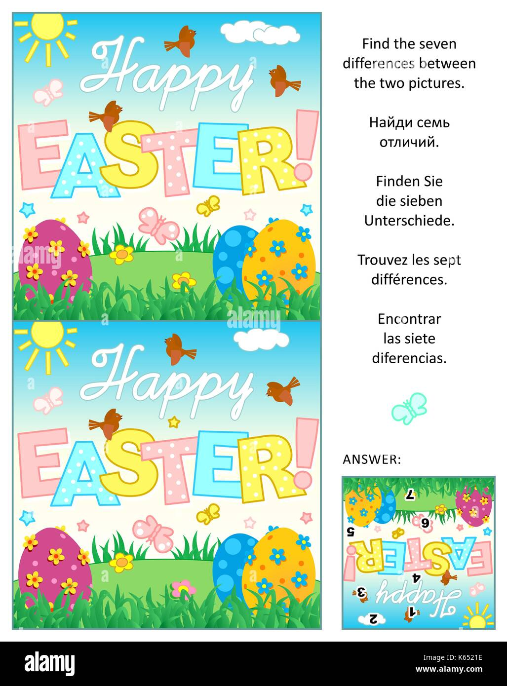 Picture Puzzle Find The Seven Differences Between The Two Easter