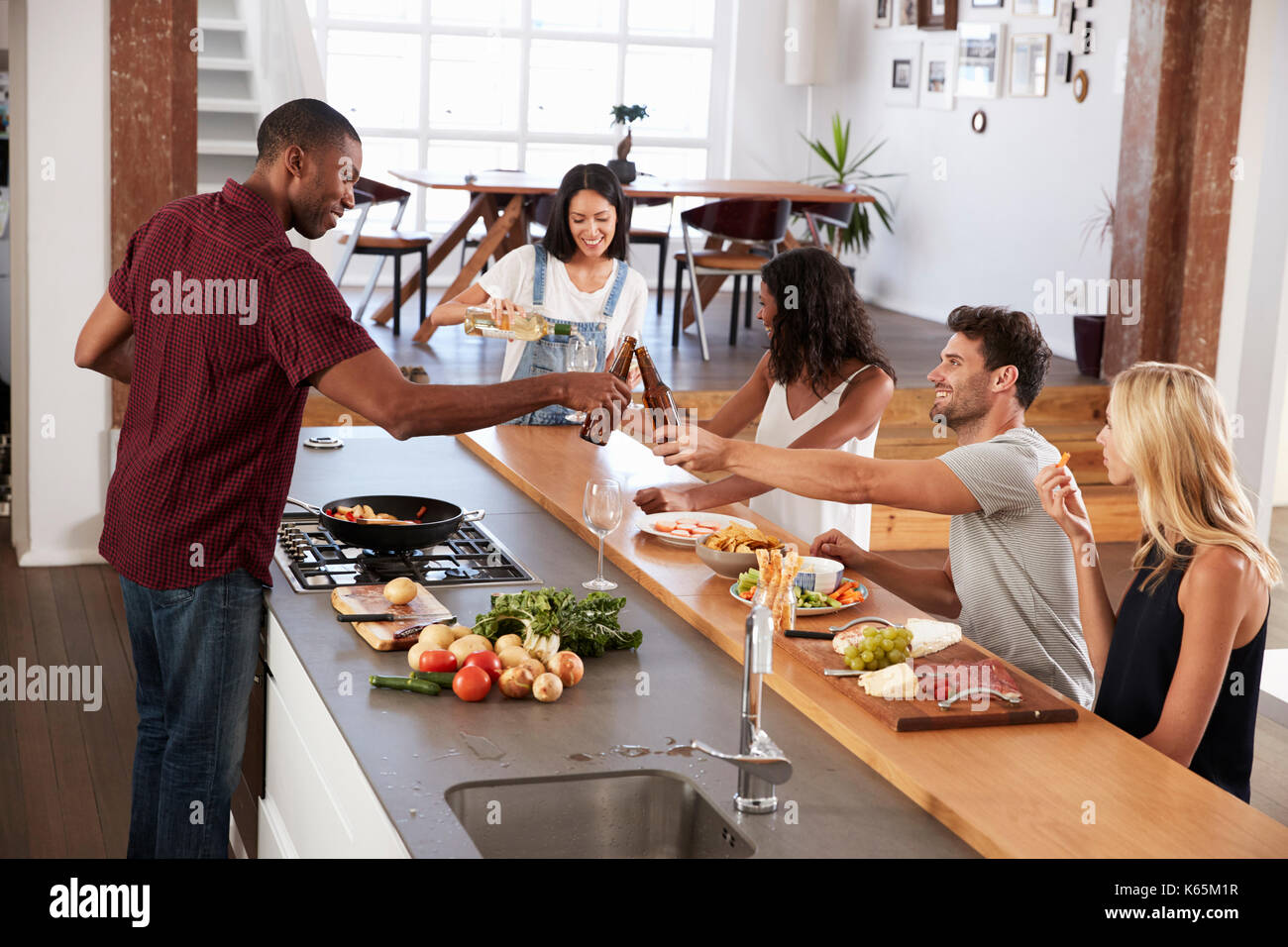 Woman Serve Food Home Stock Photos Woman Serve Food Home