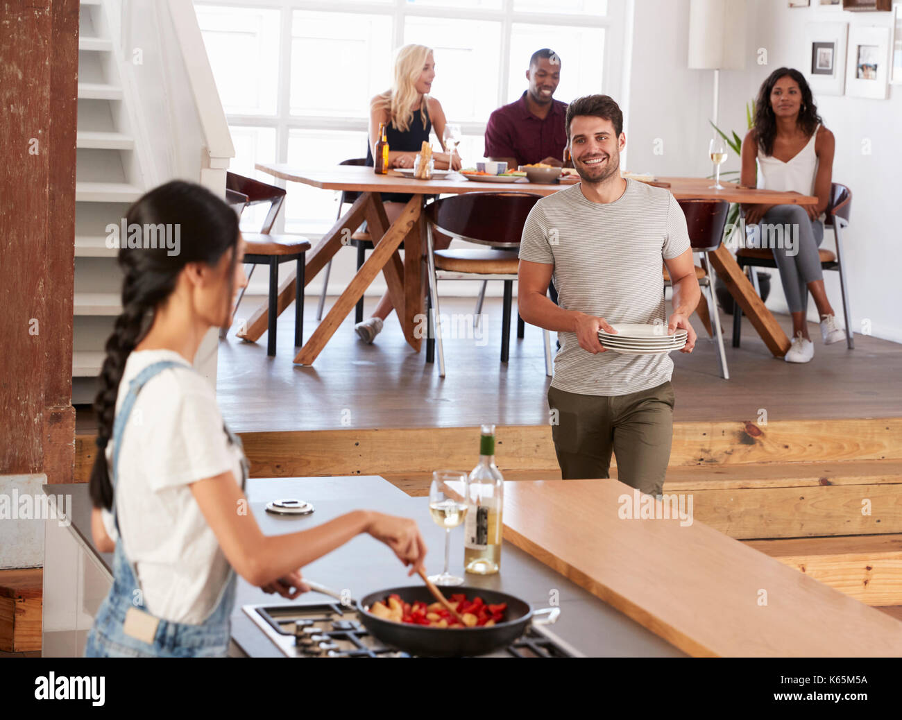 Women Preparing Table Dinner Party Stock Photos Women