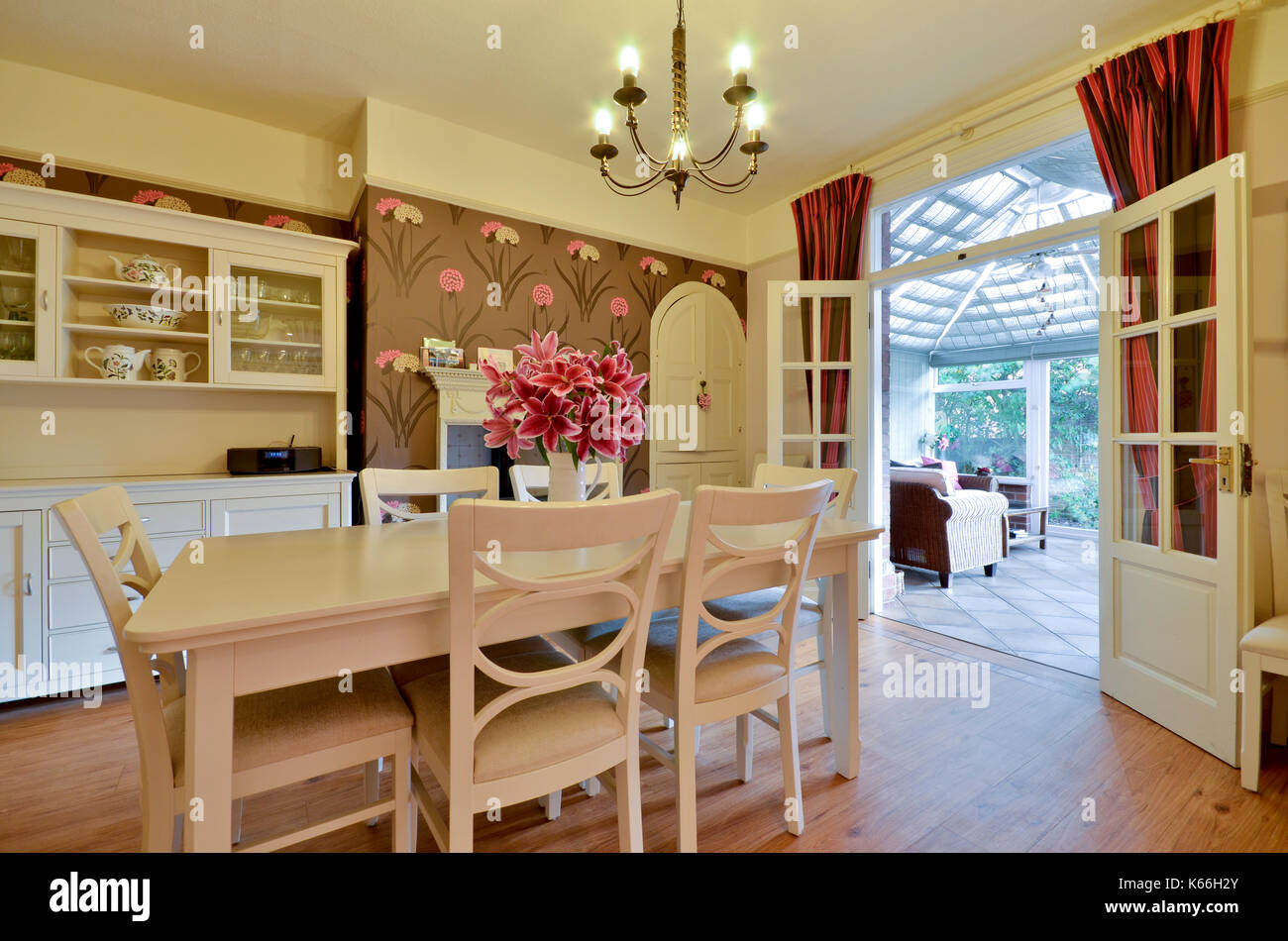 Dining Room With French Doors To Conservatory