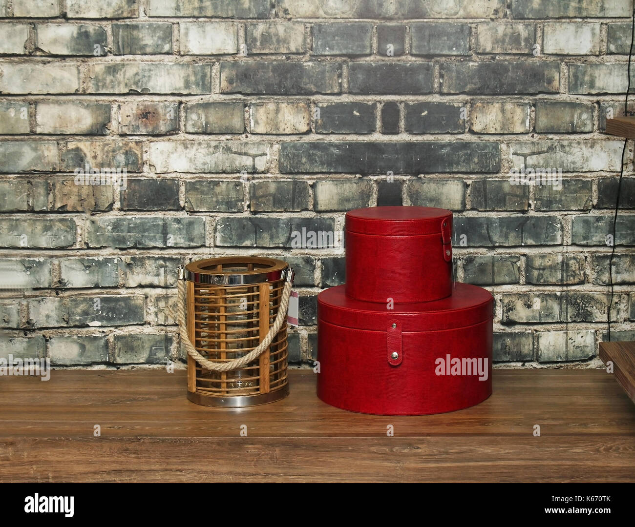 Plain wood table with hipster brick wall background stock photo - Table Decor Inside Retro Interior With Brick Wall In Background Stock Image
