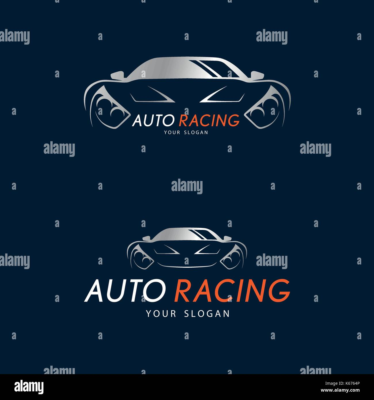 Auto racing symbol on dark blue background silver sport car logo auto racing symbol on dark blue background silver sport car logo design for dealer shop service station showroom or corporate identity vector ill buycottarizona Images
