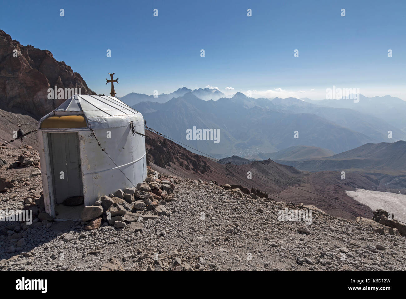 Small Metal Church Sits On A Peak Below Mount Kazbek In Georgia Used As A Place Of Worship Or A Shelter For Climbers And Walkers