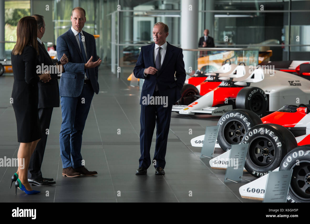 The Duke of Cambridge is shown Formula One racing cars previously ...