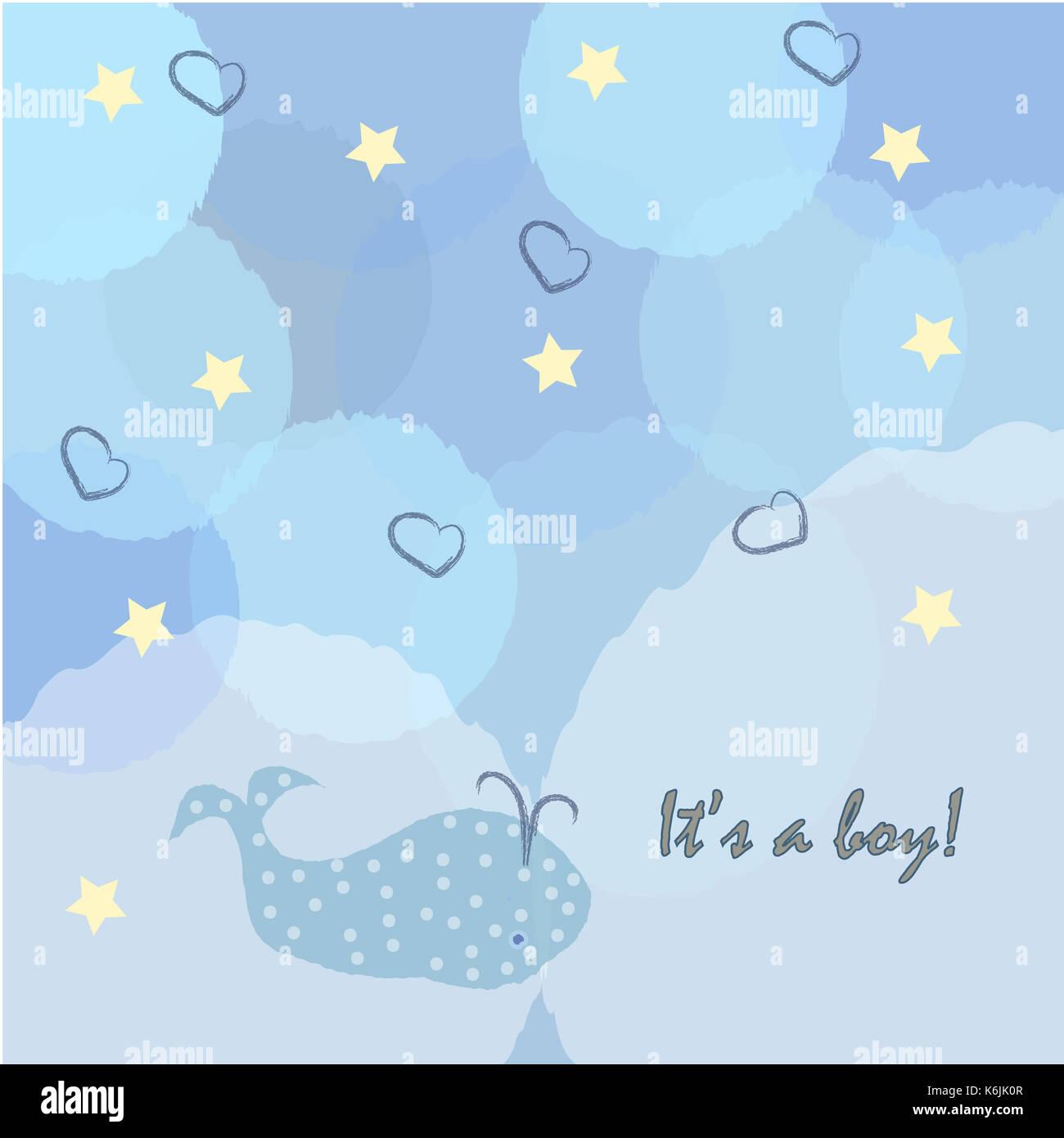 Baby Boy Birth Announcement Baby Shower Invitation Card Cute Whale