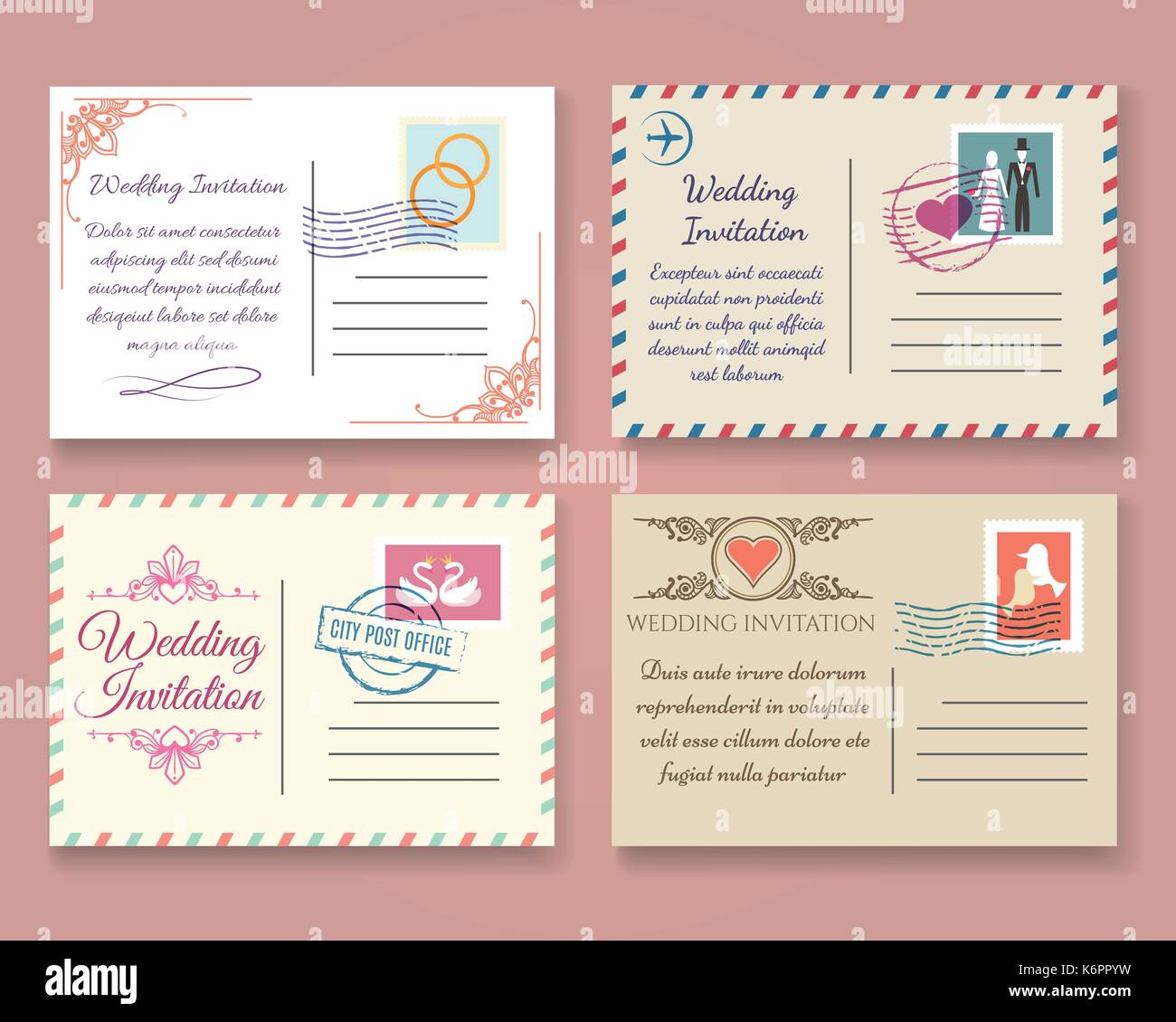 vintage wedding postcard vector templates old vector marriage stock