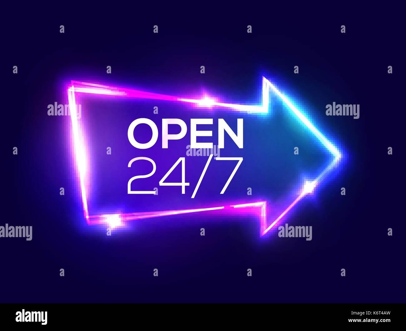 Open 24 7 hours night club neon sign 3d retro light bar glowing night club neon sign 3d retro light bar arrow pointer aloadofball Gallery
