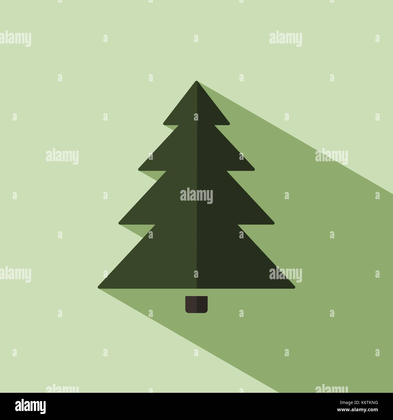 Christmas tree icon with shade. Color vector illustration Stock ...