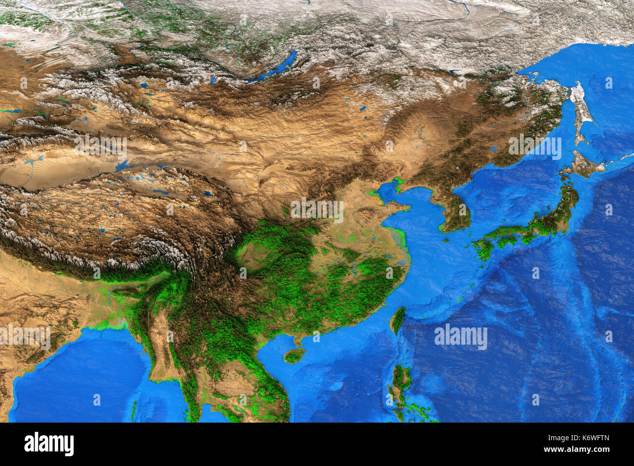 Physical Map Of East Asia Detailed Satellite View Of The Earth - Map of east asia