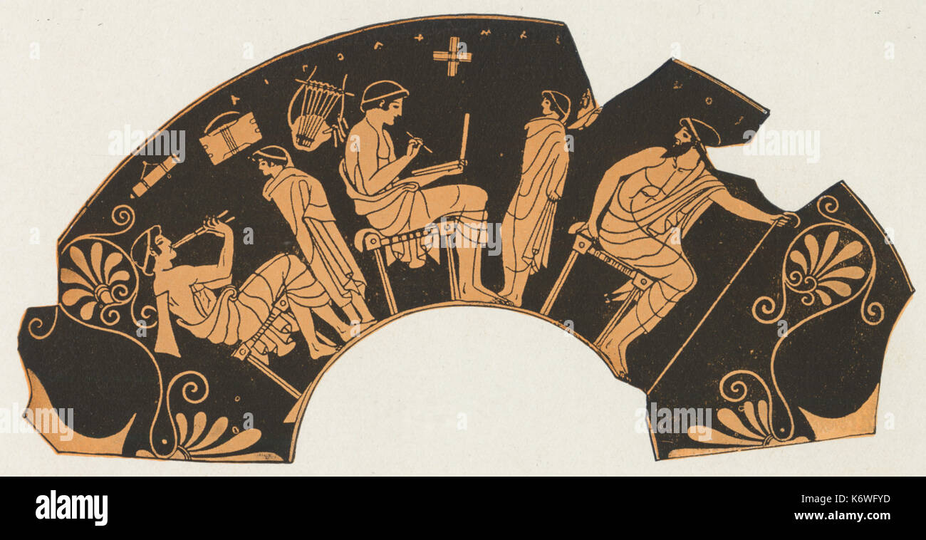 Greek vase painting stock photos greek vase painting stock greek vase painting showing music teaching in ancient greece lesson on lyre reviewsmspy