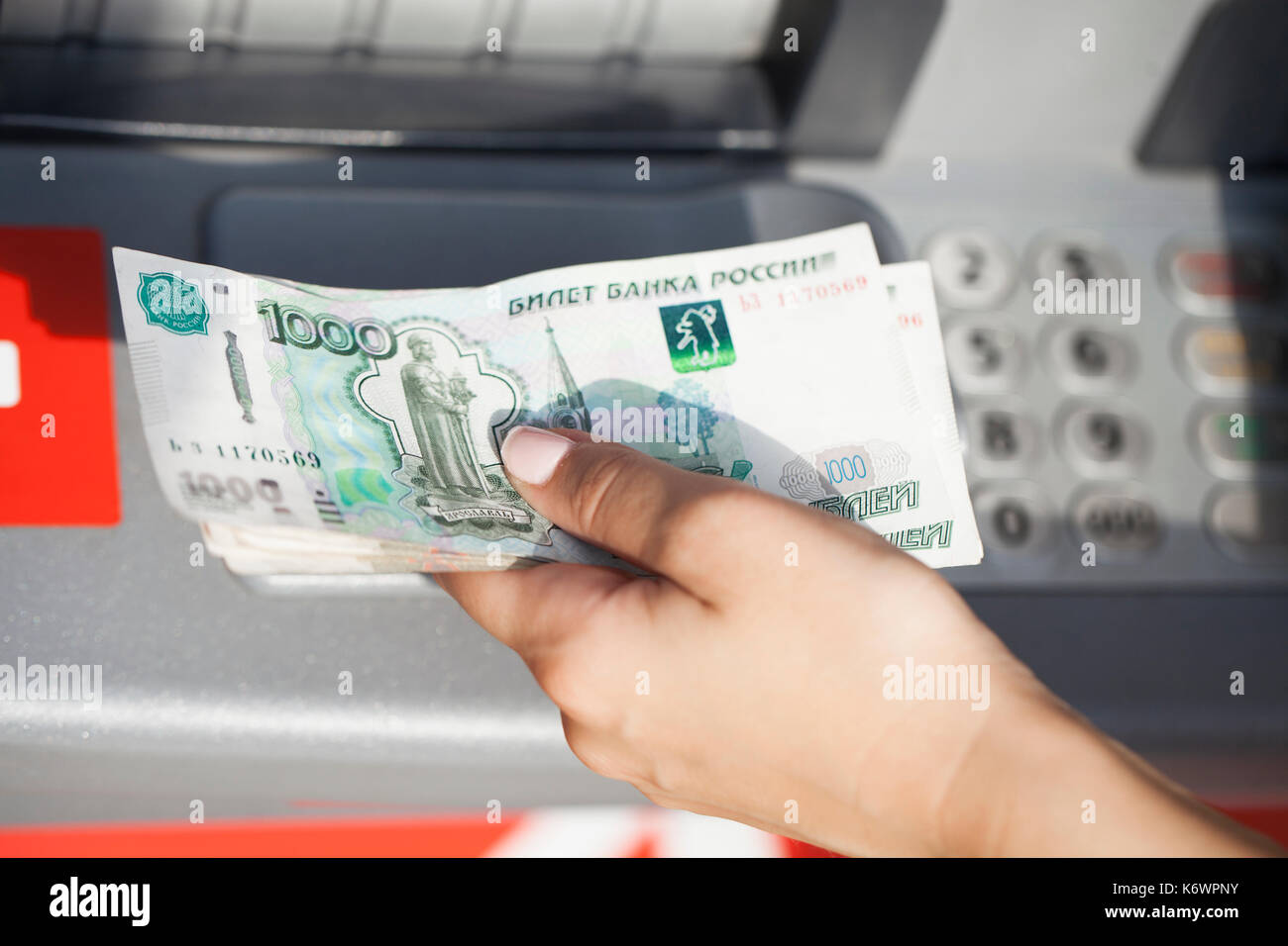 Russian rubles cash  Repayment on credit  Woman hand
