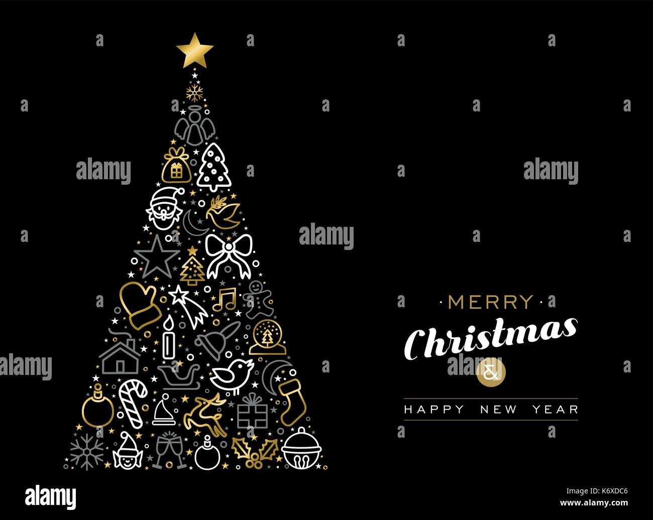 Merry Christmas And Happy New Year Greeting Card Design Gold