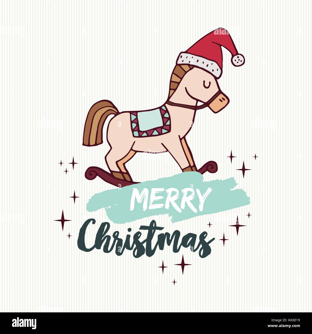 Merry christmas hand drawn greeting card cute rocking horse toy in merry christmas hand drawn greeting card cute rocking horse toy in santa claus hat kristyandbryce Gallery