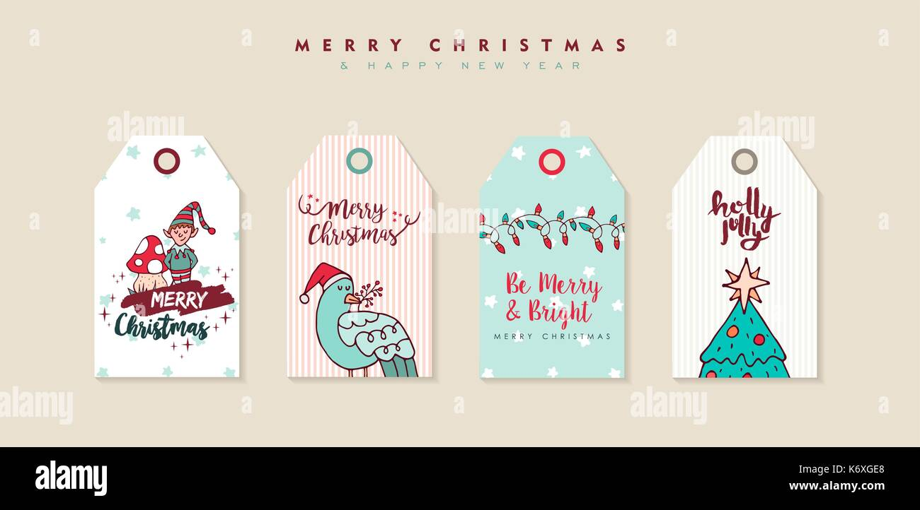 merry christmas happy new year hand drawn label tag set includes cartoon elf bird pine tree and typography quotes eps10 vector
