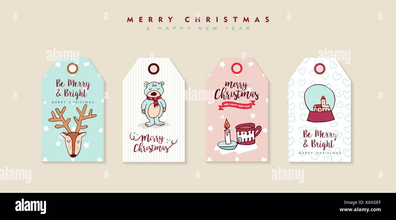 merry christmas happy new year hand drawn label tag set includes cartoon animals der bear and typography quotes eps10 vector