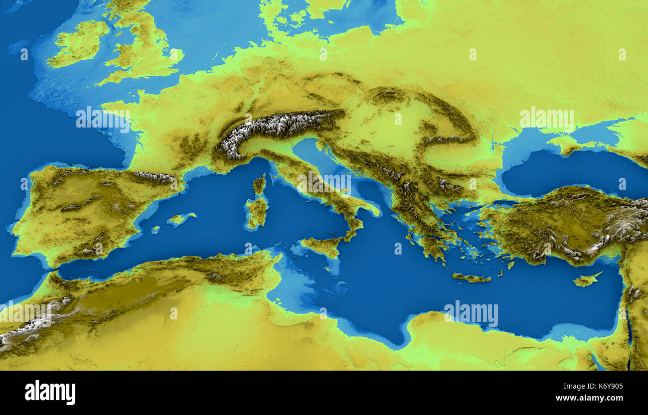 Map of the Mediterranean Sea and Europe map of heights sea