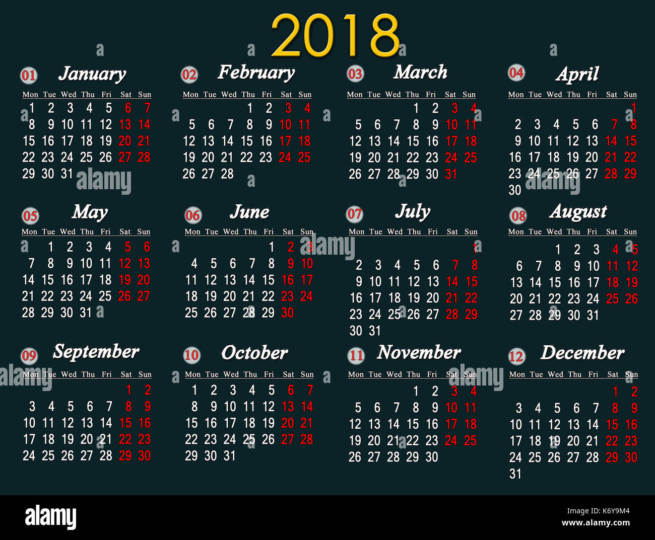 Next Year Calendar : Calendar week on sunday stock photos