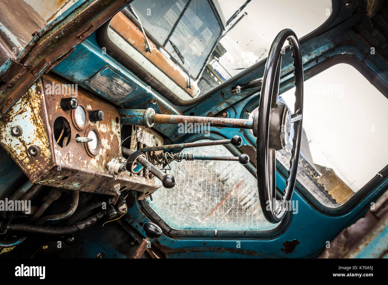 Broken Tractor Windshield : Old rusty truck interior stock photos