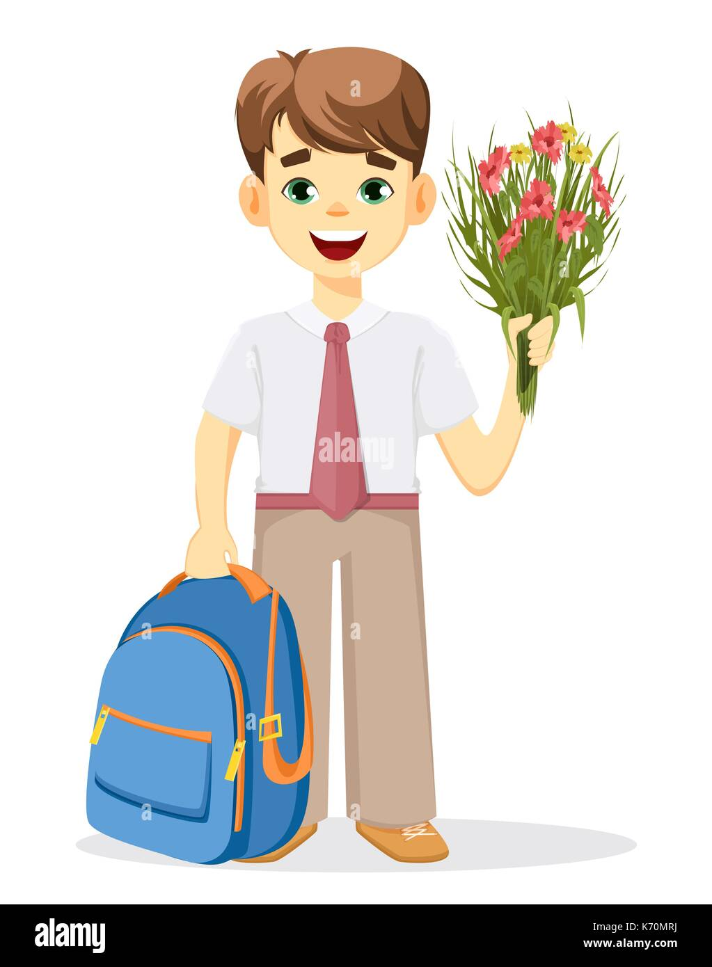 Schoolboy With Backpack And Bouquet Of Flowers Coming Back To Stock