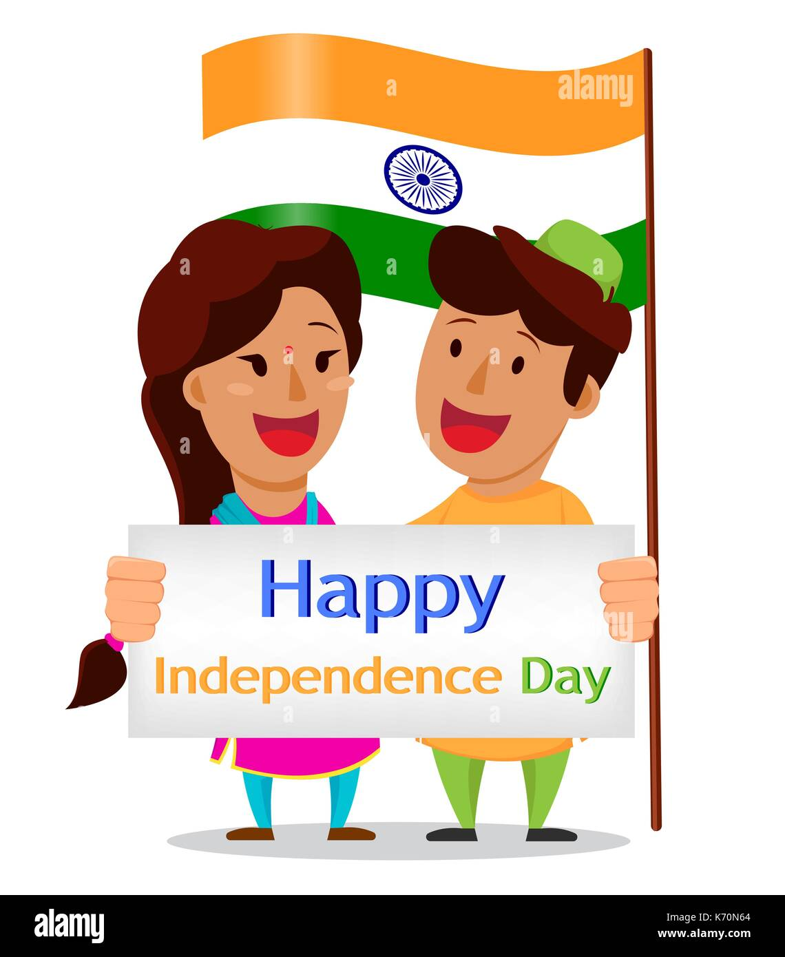 Independence Day In India Greeting Card With Funny Cartoon Stock