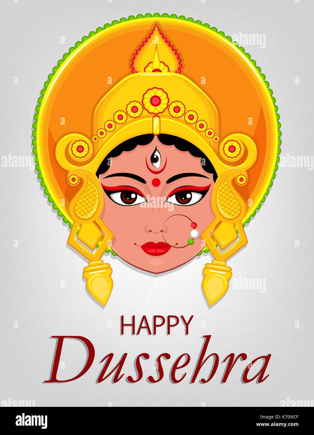 Happy dussehra greeting card maa durga face for hindu festival happy dussehra greeting card maa durga face for hindu festival vector illustration on light grey background kristyandbryce Choice Image