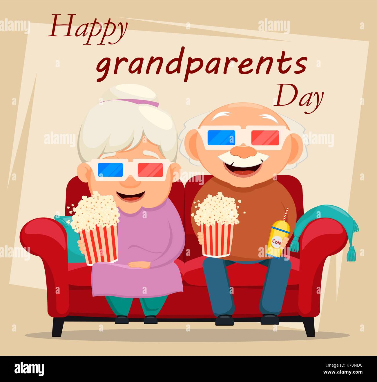 Grandparents day greeting card grandmother and grandfather watching grandparents day greeting card grandmother and grandfather watching movie at home vector illustration on light background m4hsunfo