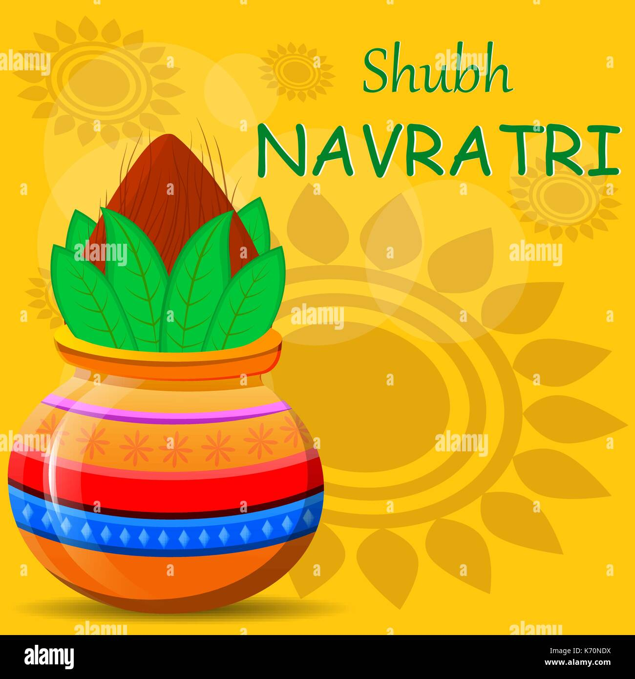 Happy navratri greeting card pot with coconut on beautiful abstract happy navratri greeting card pot with coconut on beautiful abstract background vector illustration for hindu festival kristyandbryce Choice Image