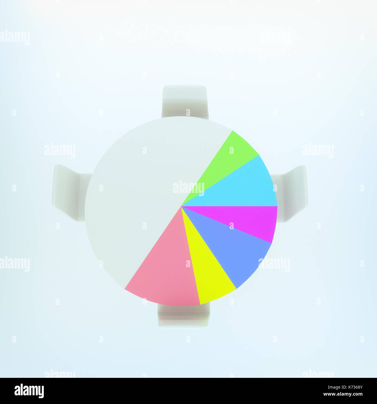 Blue pie chart stock photos blue pie chart stock images alamy 3d rendering of pie chart table with chair stock image nvjuhfo Images