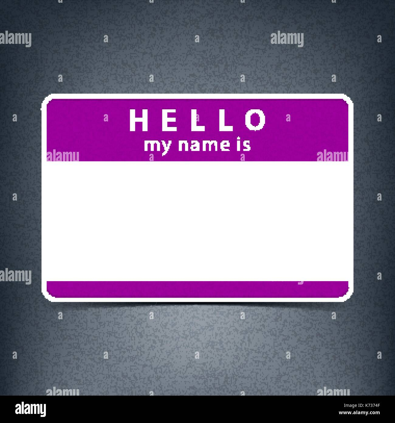 Color Blank Name Tag Sticker HELLO My Is Rounded Rectangular Badge With Drop Shadow
