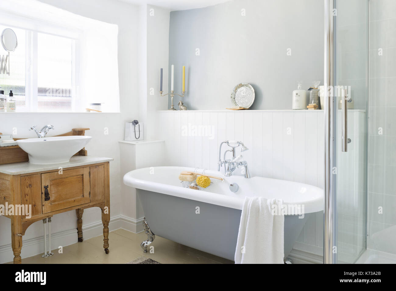 A contemporary take on a vintage country bathroom, with roll top ...