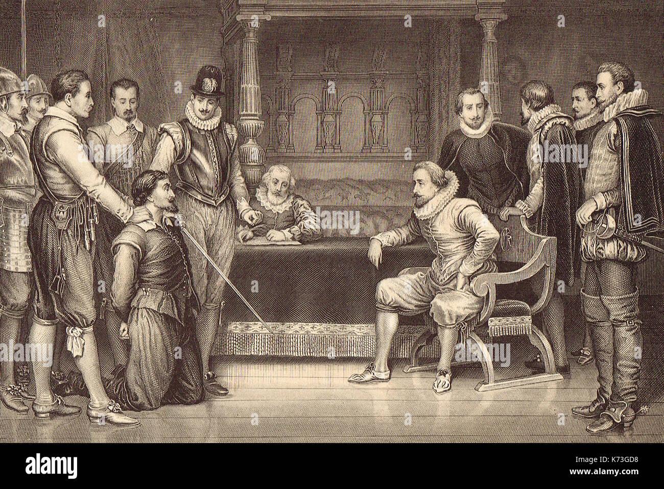 The Gunpowder Plot, Guy Fawkes kneeling before King James I, 1605