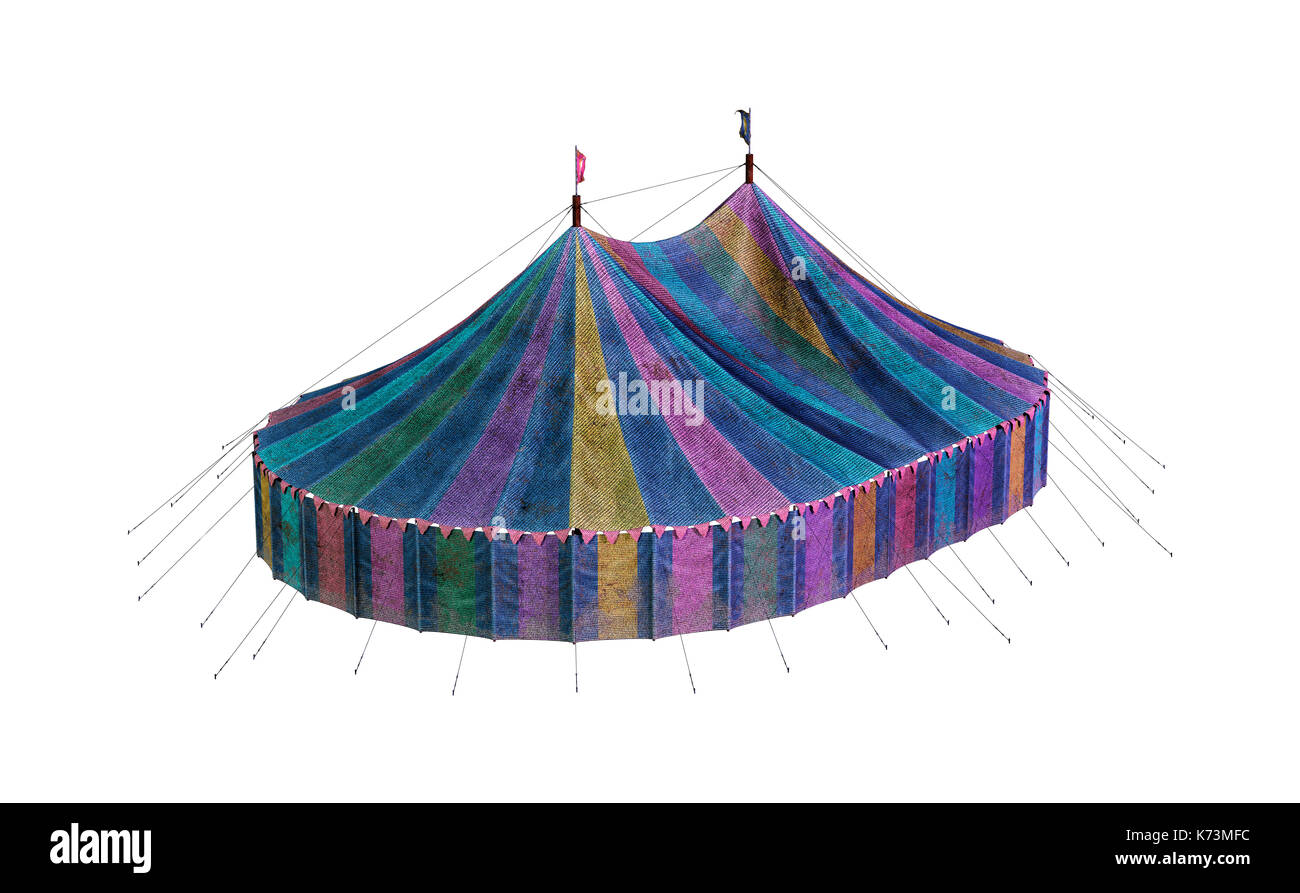 3D Rendering Of A Vintage Carnival Big Tent Isolated On White Background