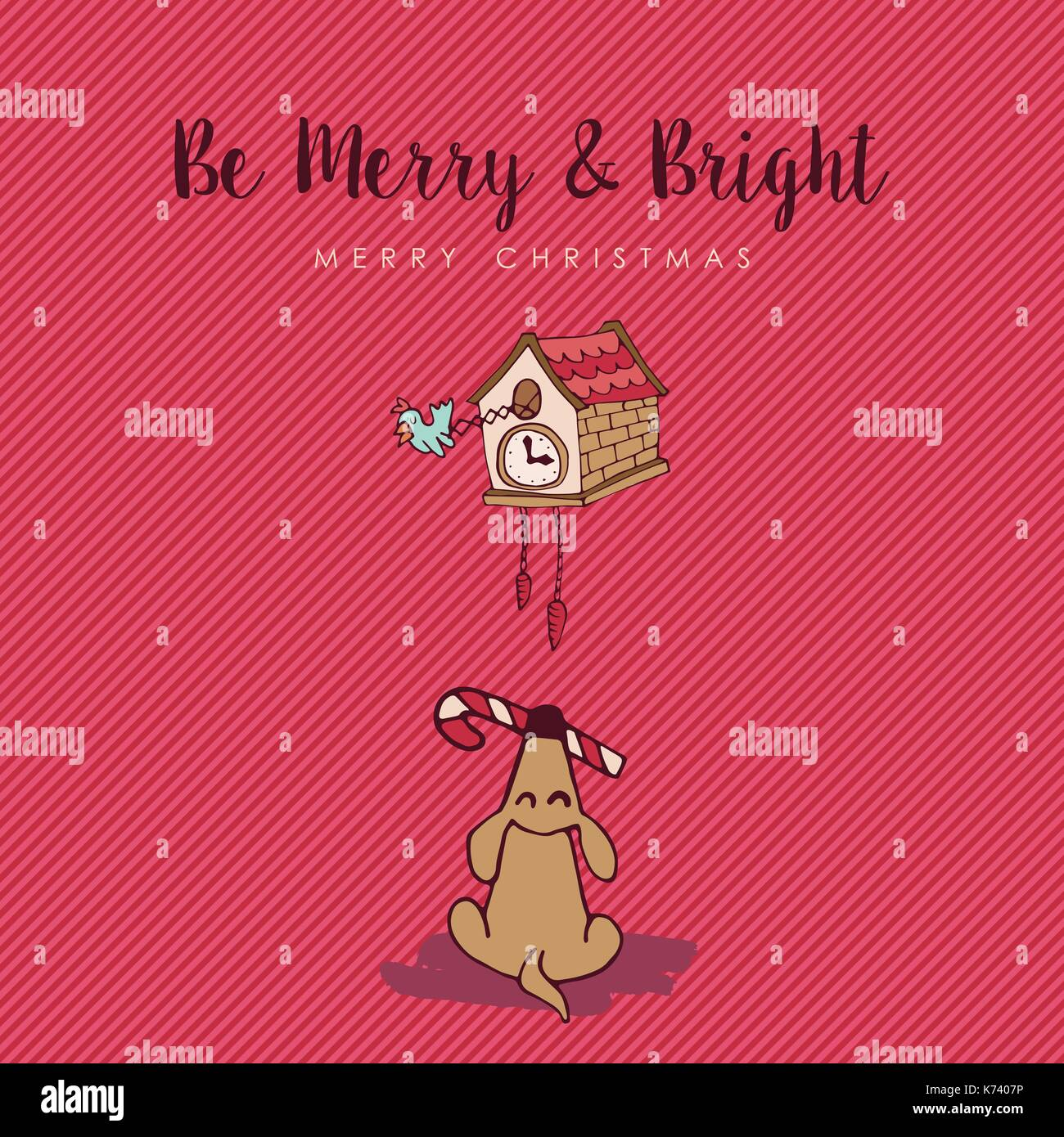 Merry christmas hand drawn greeting card illustration cute puppy merry christmas hand drawn greeting card illustration cute puppy with cuckoo bird clock and holiday kristyandbryce Gallery
