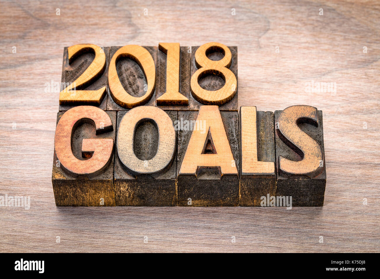 2018 goals banner new year resolution concept text in vintage letterpress wood type printing blocks against grained wood