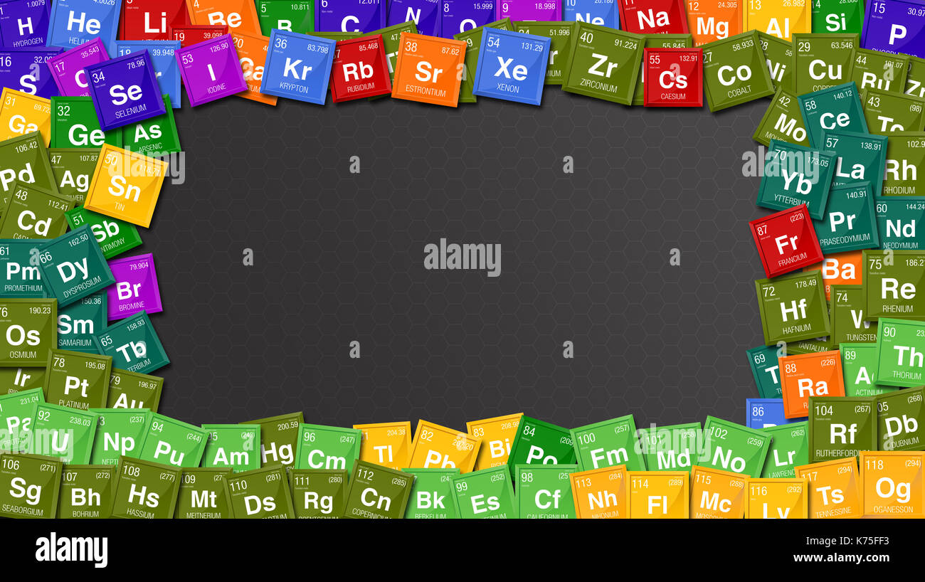 Diagram periodic table elements stock photos diagram periodic colorful frame made with symbols of the periodic table of the elements with the 4 new gamestrikefo Image collections