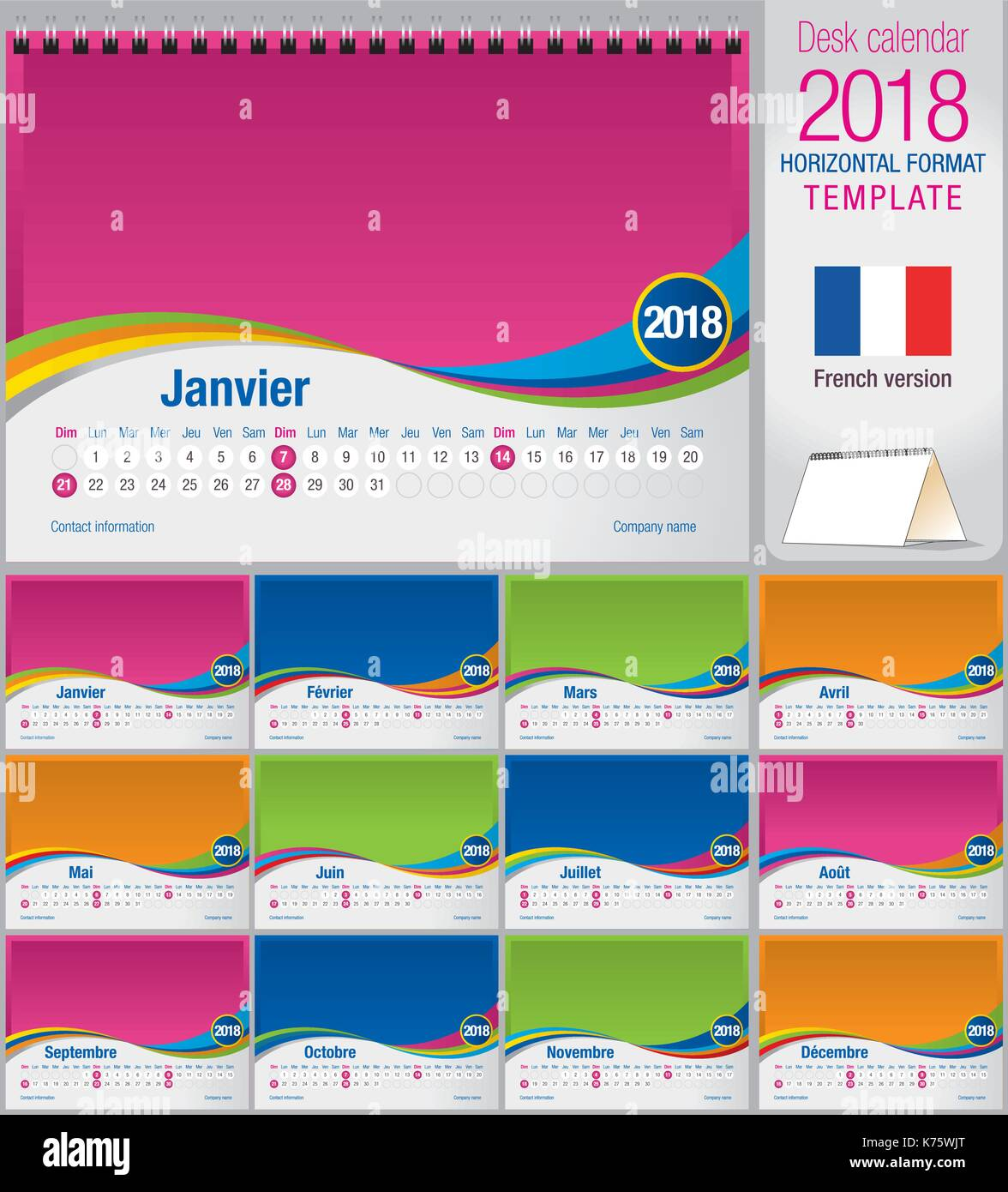 desk triangle calendar 2018 colorful template size 210mm x 150mm format a5 vector image french version