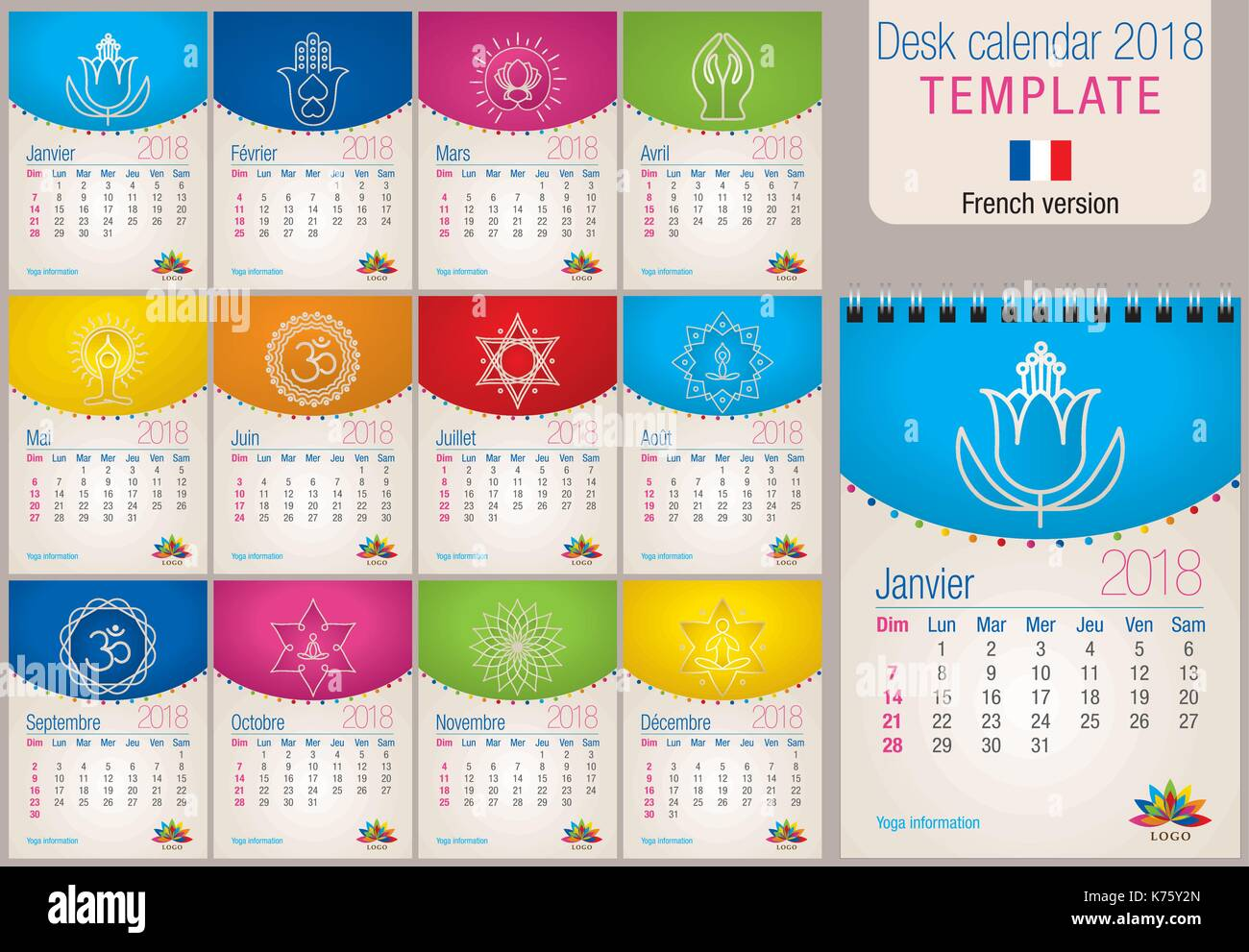 Useful Desk Calendar 2018 Colorful Template With Yoga And