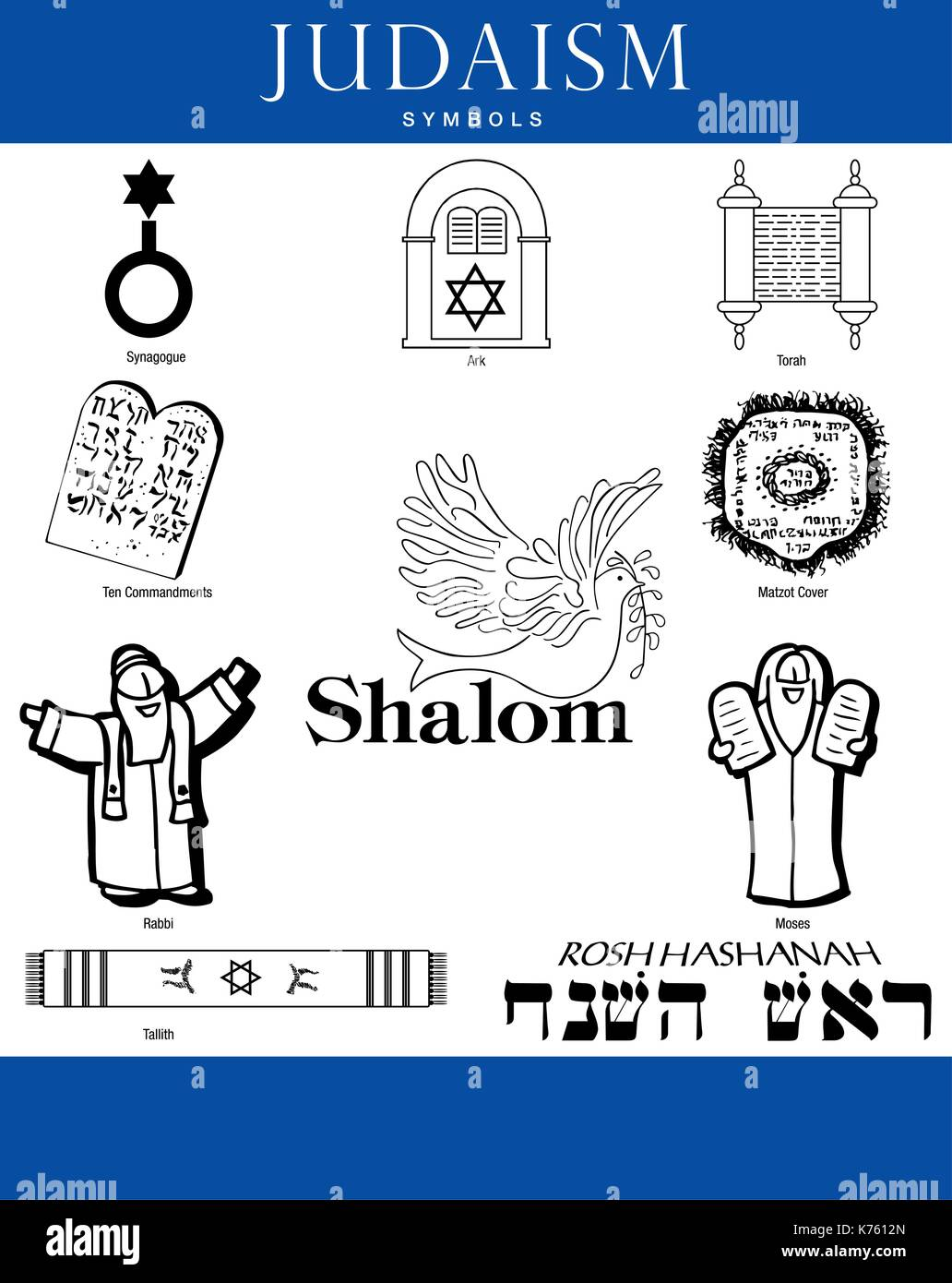 Set Of Judaism Symbols On White Background With Blue Bars Vector