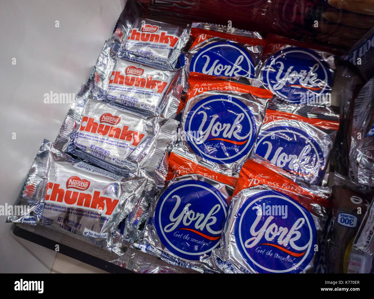 york candy. nestlé\u0027s brand chunky with hershey\u0027s york peppermint patty candy in a store new on tuesday, september 5, 2017. major confectioners including hershey :