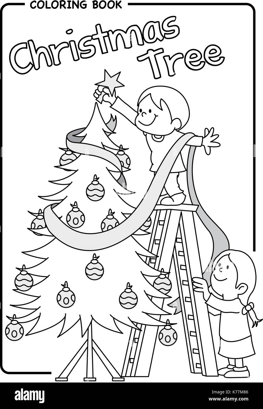 Pair Of Children Decorating The Christmas Tree Using A Ladder Stock