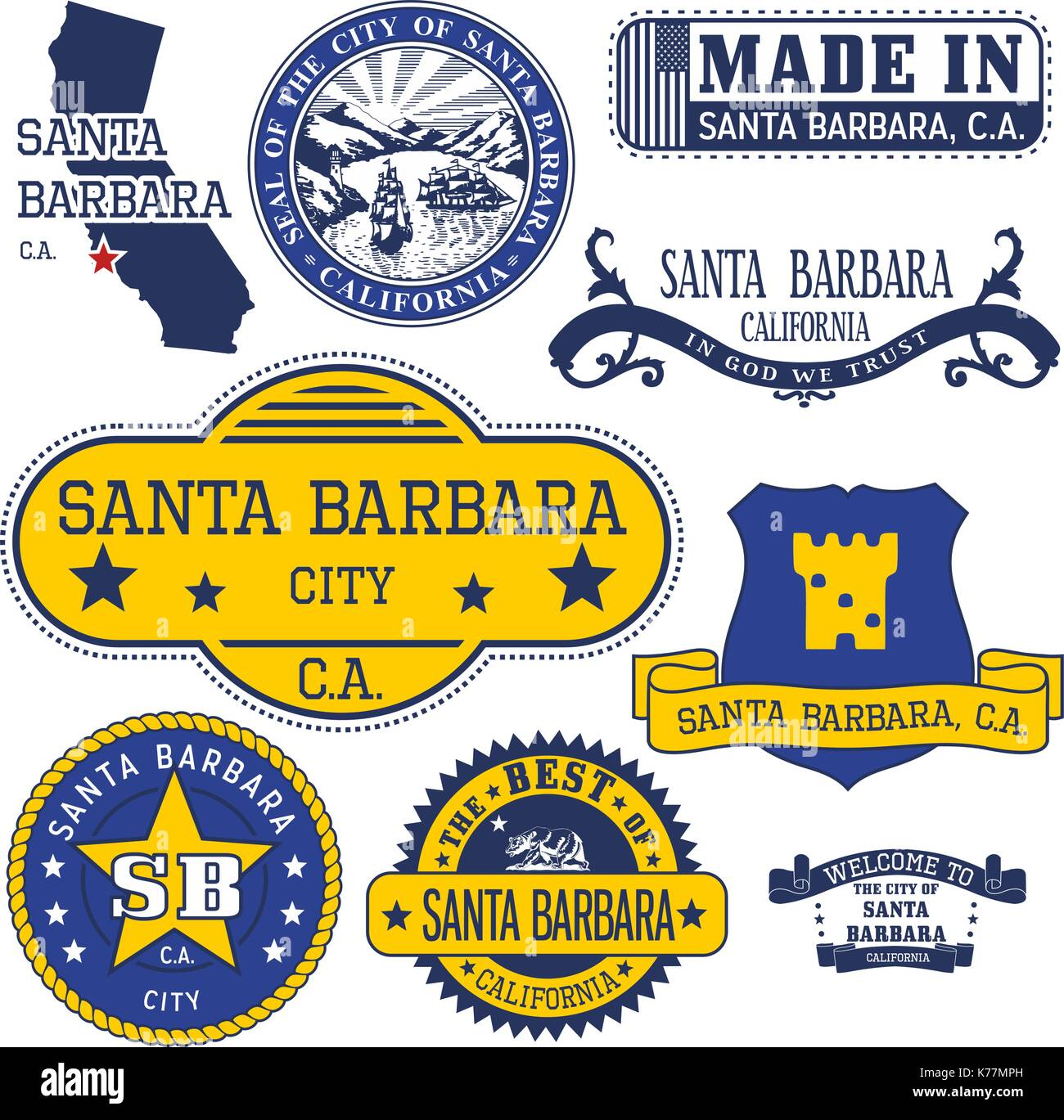 Set of generic stamps and signs of santa barbara city california set of generic stamps and signs of santa barbara city california biocorpaavc