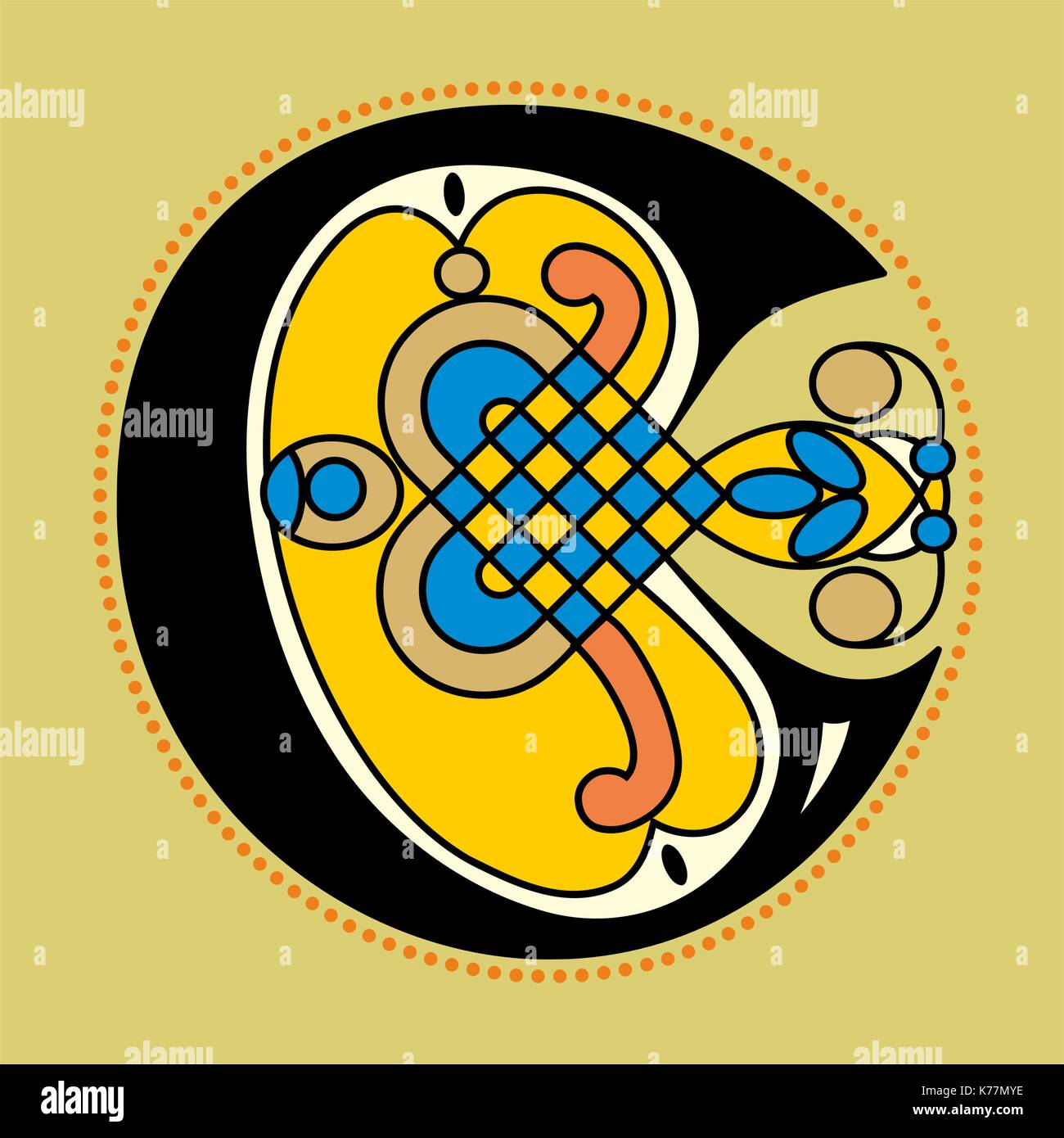 Decorative Ornamental Initial Letter C In Celtic Style Geometrical Form Like An Illustration Antique Medieval Illuminated Manuscript