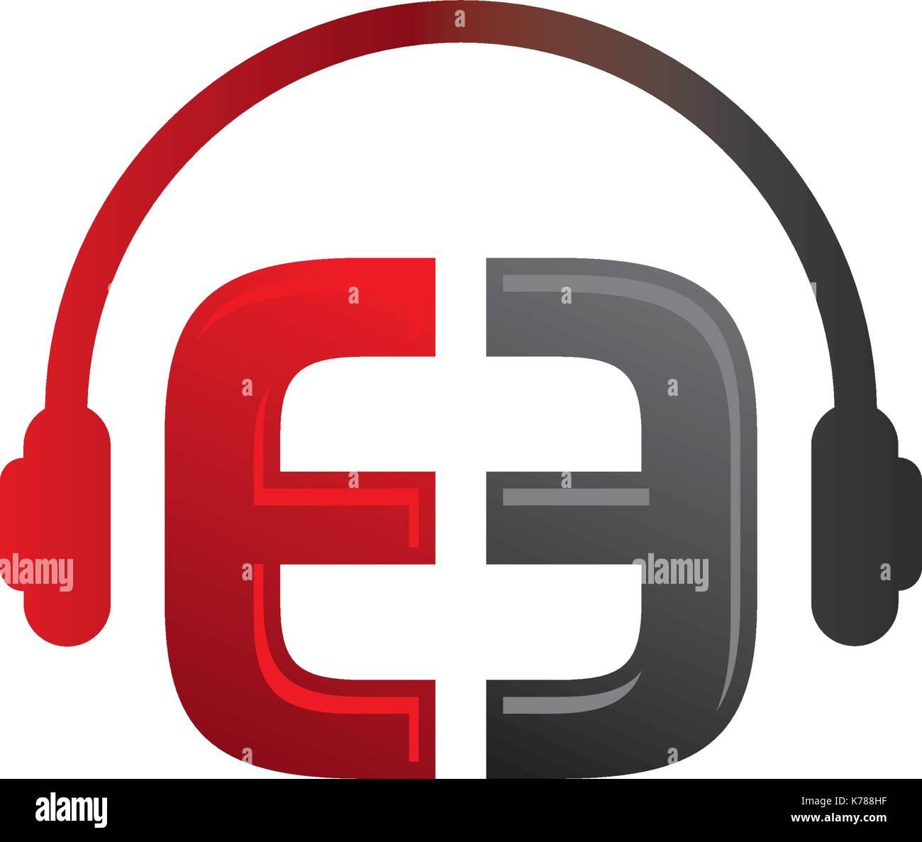 E Letter dj in headphone Logo Template Stock Vector Art ...
