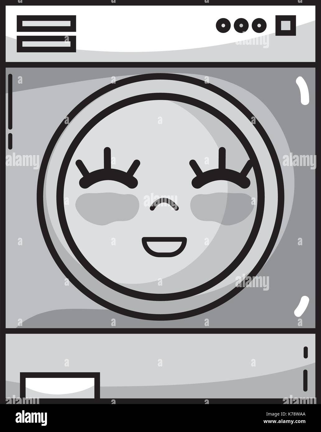 cute washing machine clipart. grayscale kawaii cute happy washing machine - stock image clipart