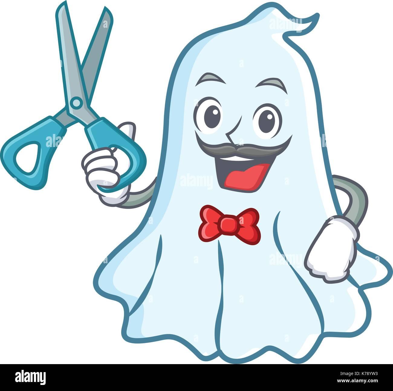 Barber cute ghost character cartoon Stock Vector Art